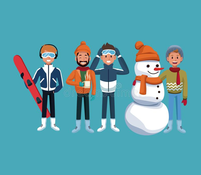 Mężczyzna zimy ekstremum sporty ilustracja wektor