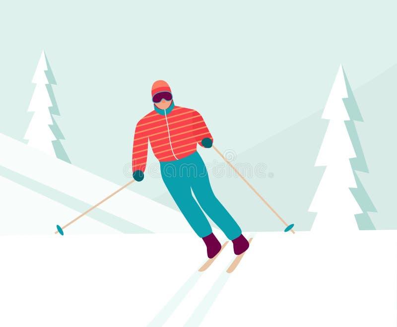 mężczyzna zjazdowy narciarstwo Styczeń 33c krajobrazu Rosji zima ural temperatury ilustracja wektor