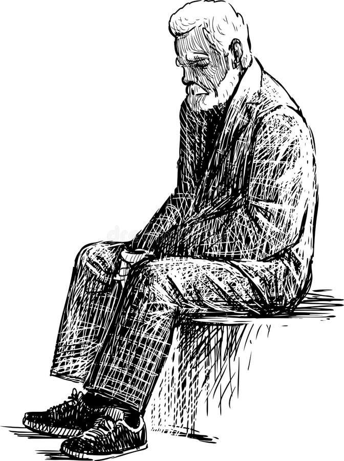 mężczyzna zmęczony stary ilustracja wektor