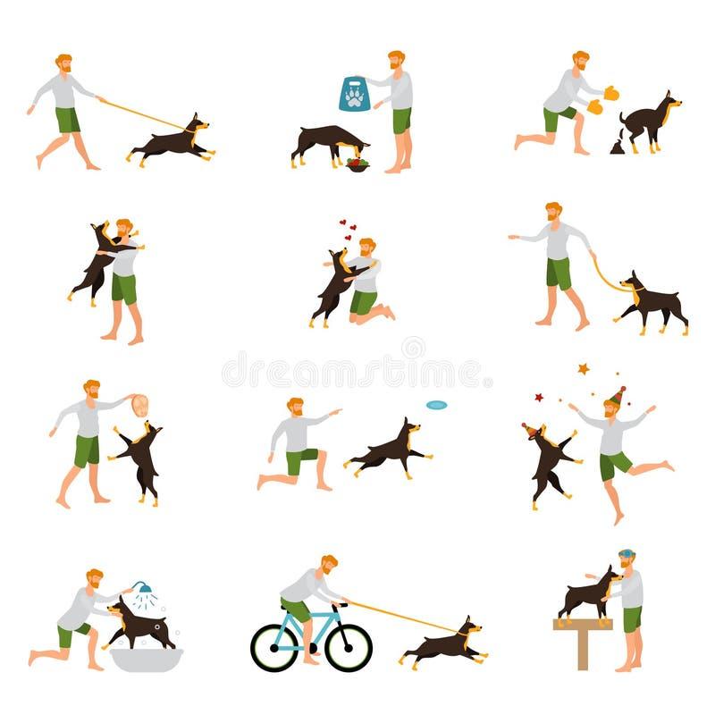 Mężczyzna zwierzęcia domowego Psi Stażowy Bawić się kij royalty ilustracja
