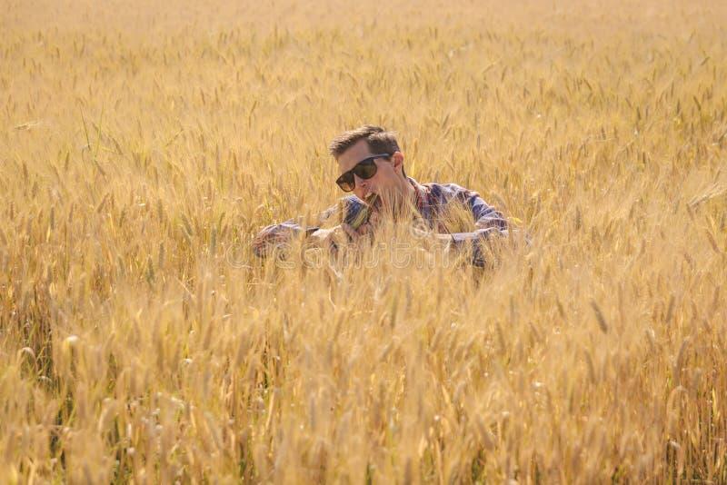 Mężczyzny żartować otaczam pszenicznym polem zdjęcie royalty free