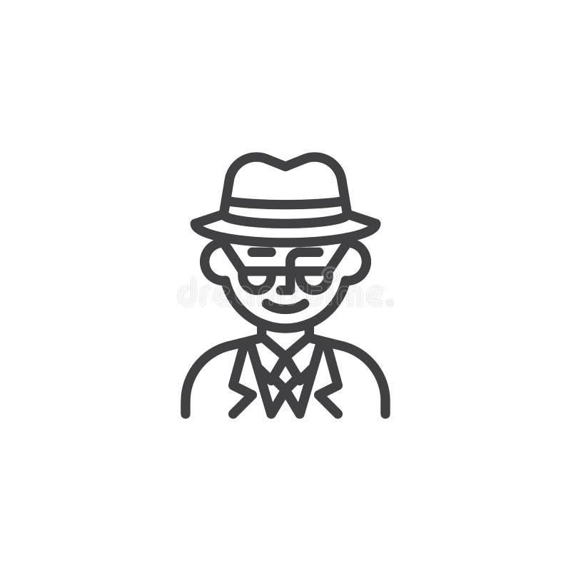 Mężczyzny avatar charakteru linii detektywistyczna ikona royalty ilustracja