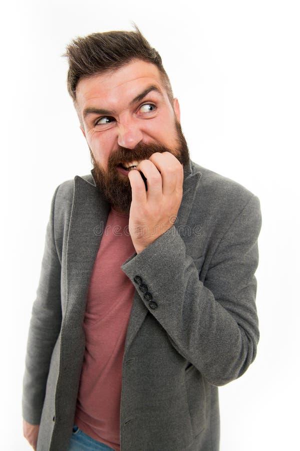 Mężczyzny brodatego modnisia twarzy wątpliwi kąski myśleć dotykają podczas gdy Nerwowy robi decyzji Modnisia brutalny nerwowy roz obraz royalty free
