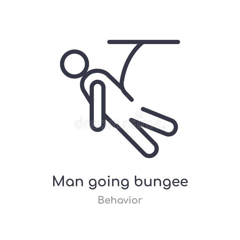 mężczyzny bungee doskakiwania konturu iść ikona odosobniona kreskowa wektorowa ilustracja od zachowanie kolekcji editable cienki  royalty ilustracja