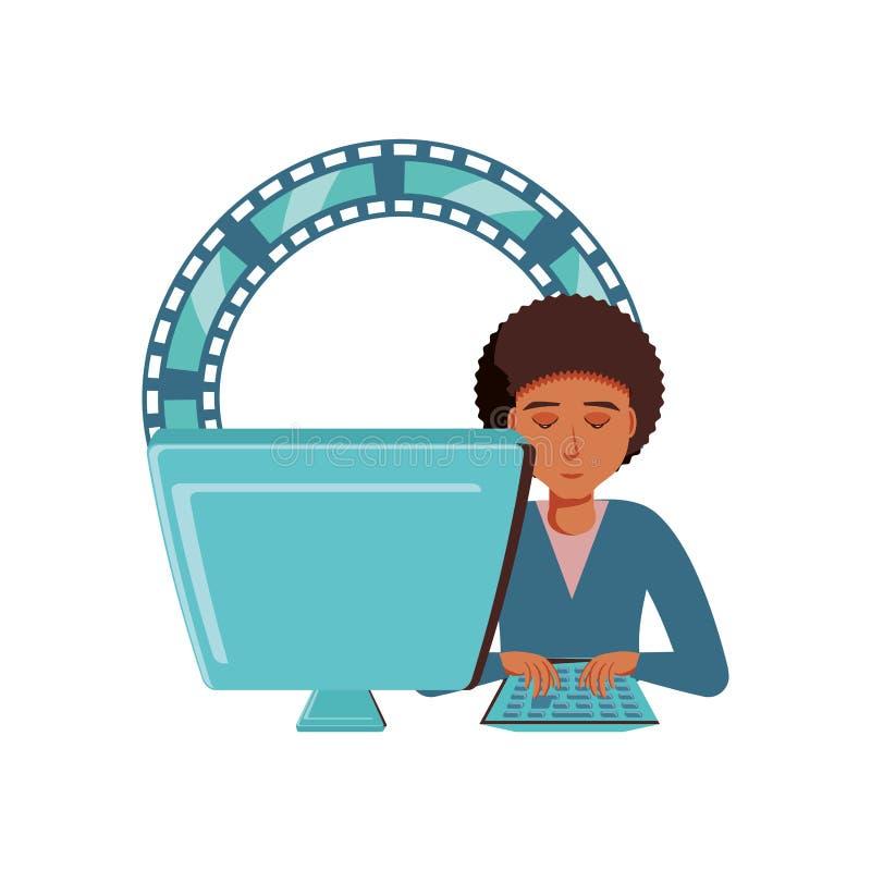 Mężczyzny czerń z komputerem stacjonarnym i wideo taśmą royalty ilustracja