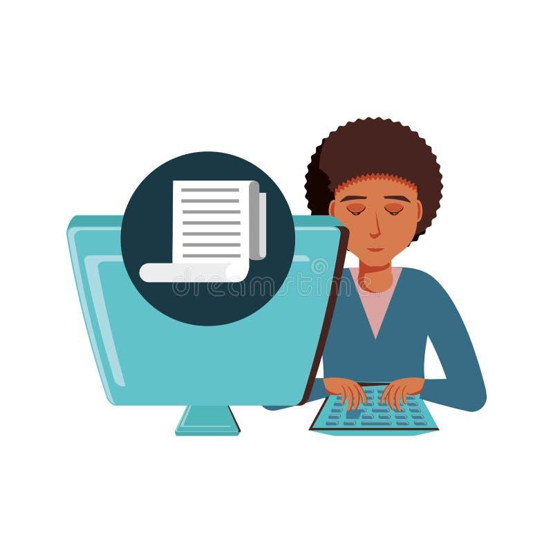 Mężczyzny czerń z komputeru stacjonarnego i papieru kwitem ilustracji