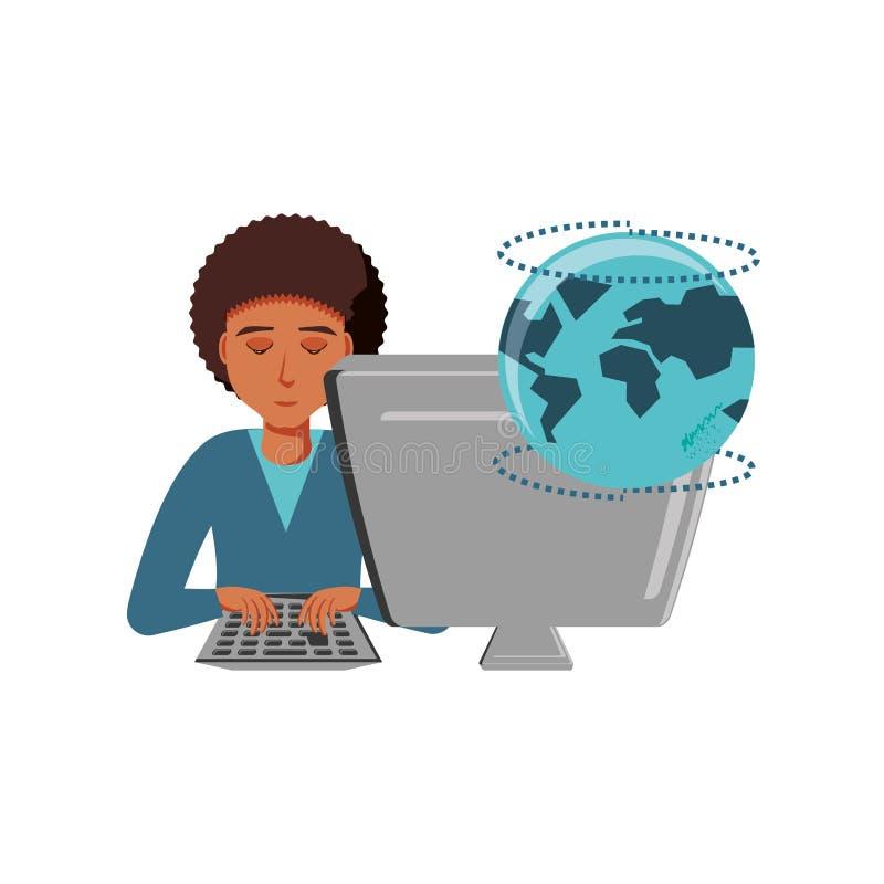 Mężczyzny czerń z komputeru stacjonarnego i planety ziemią royalty ilustracja