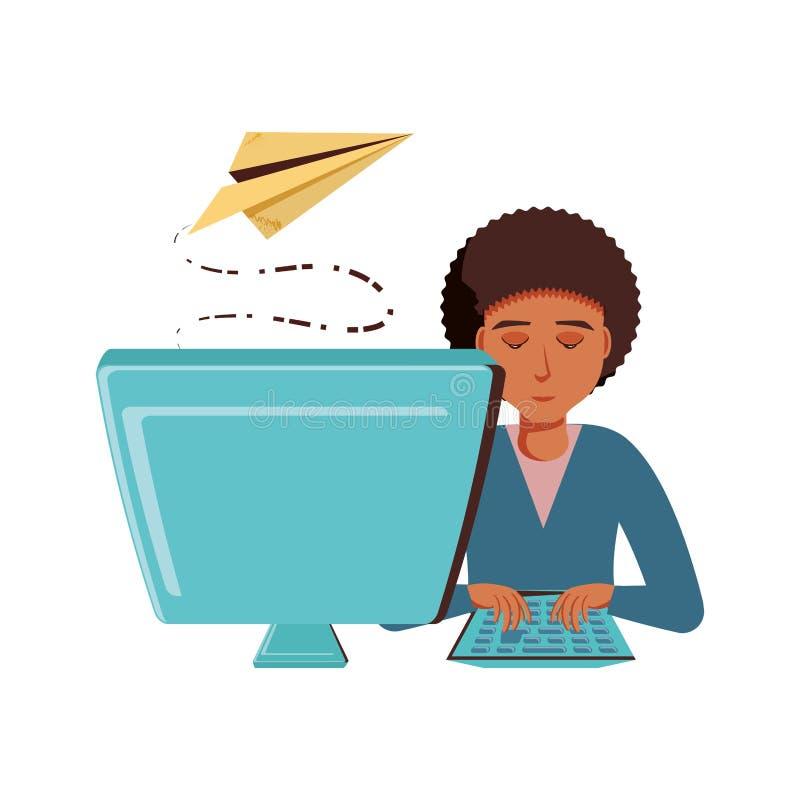 Mężczyzny czerń z komputeru stacjonarnego i samolotu papierem ilustracja wektor