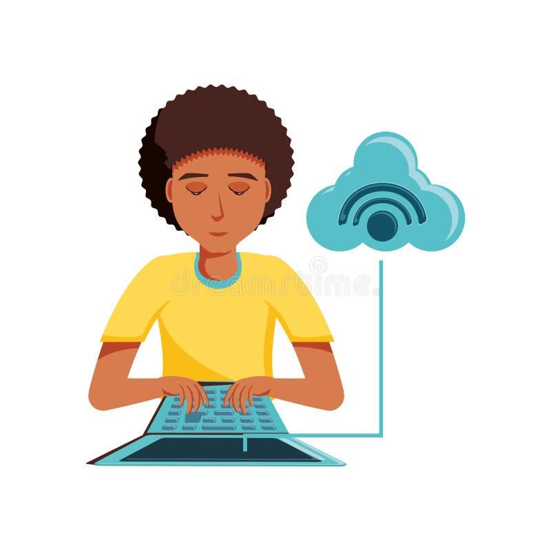 Mężczyzny czerń z laptopem i obłocznym obliczać ilustracji