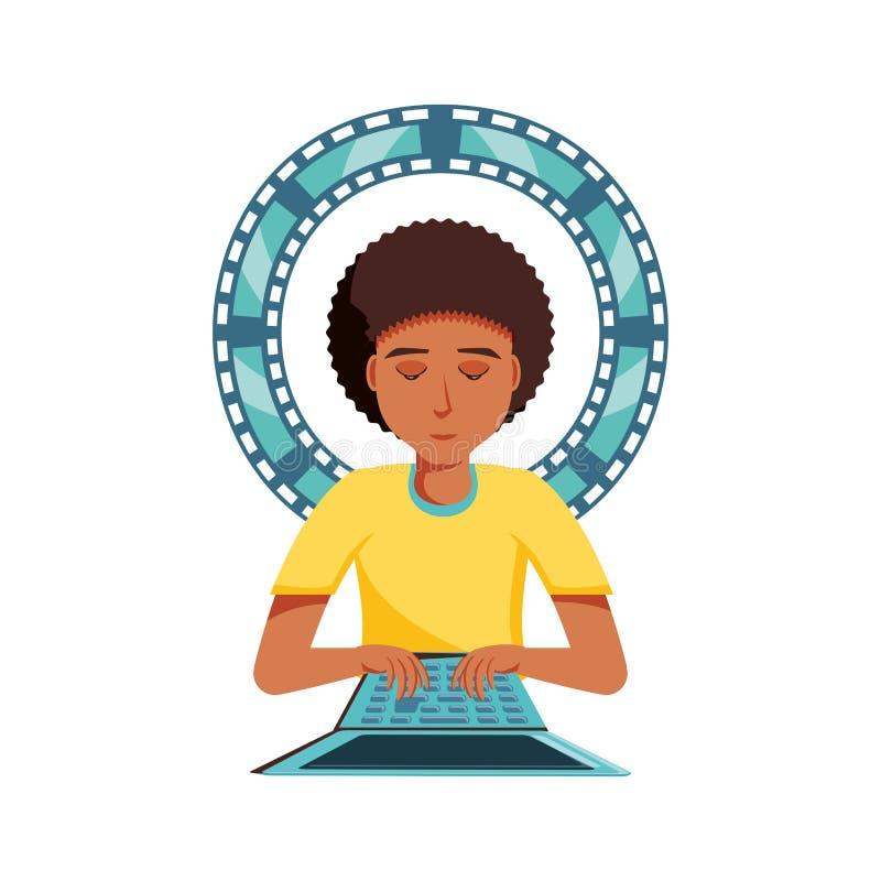 Mężczyzny czerń z laptopem i wideo taśmą ilustracji