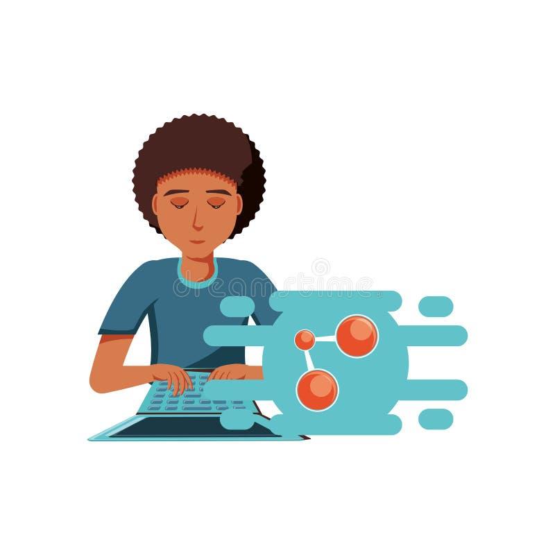 Mężczyzny czerń z laptopu i części symbolem ilustracji