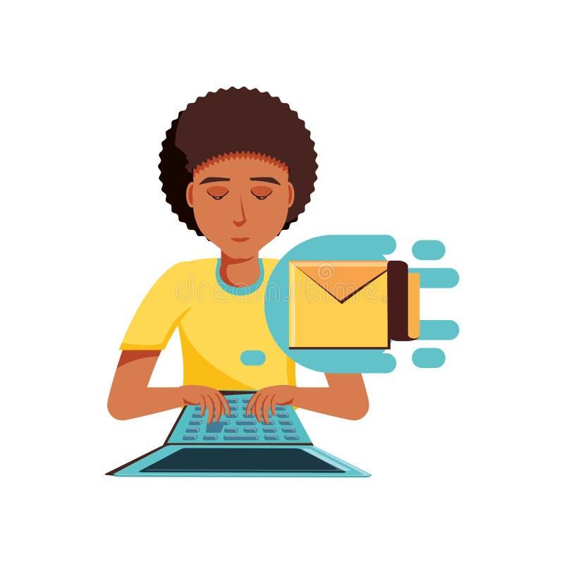 Mężczyzny czerń z laptopu i koperty pocztą ilustracja wektor