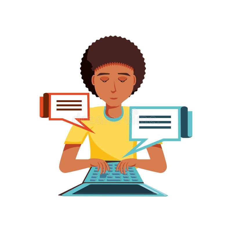 Mężczyzny czerń z laptopu i mowy bąblami royalty ilustracja