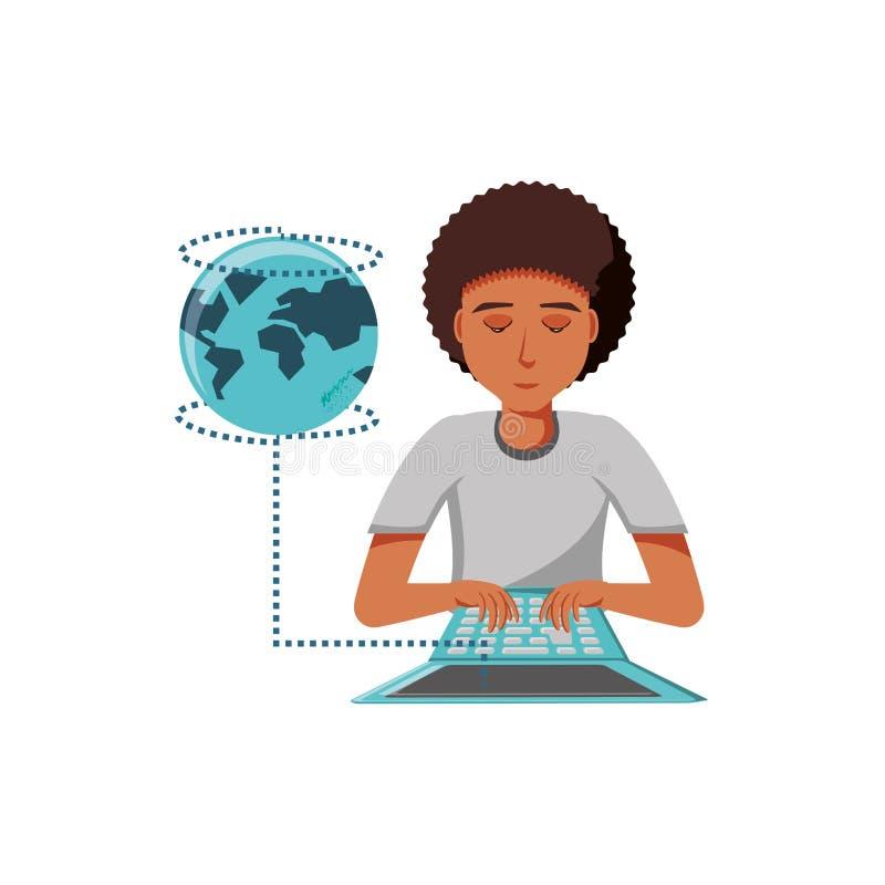 Mężczyzny czerń z laptopu i planety ziemią ilustracji