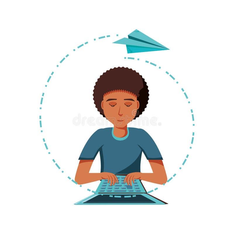 Mężczyzny czerń z laptopu i samolotu papierem ilustracja wektor