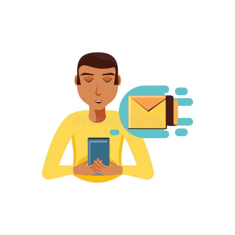 Mężczyzny czerń z smartphone i koperty pocztą ilustracji