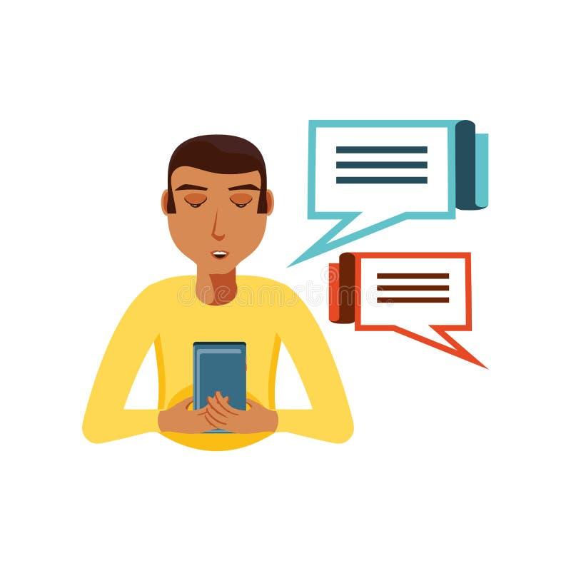 Mężczyzny czerń z smartphone i mowy bąblami ilustracja wektor