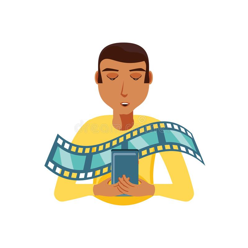 Mężczyzny czerń z smartphone i wideo taśmą ilustracja wektor