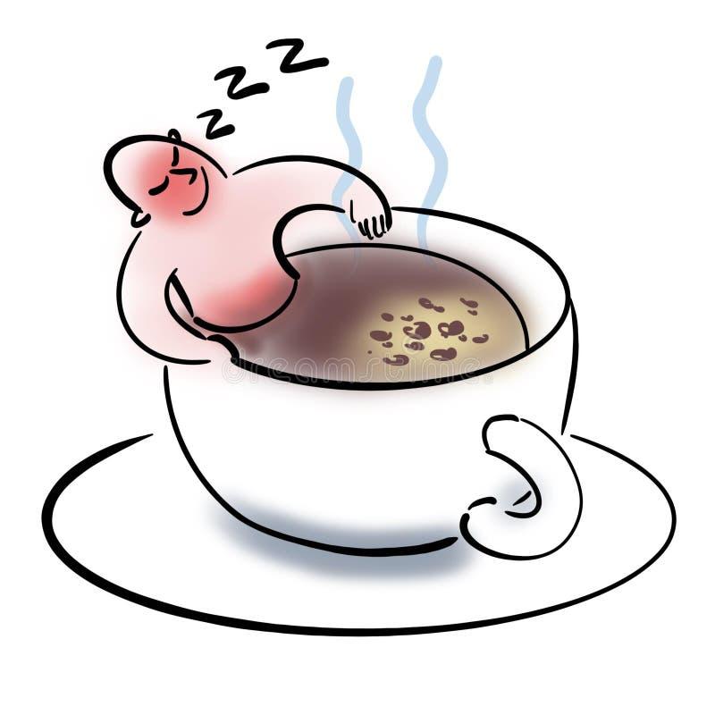 Mężczyzny dosypianie w filiżanka kawy ilustracji