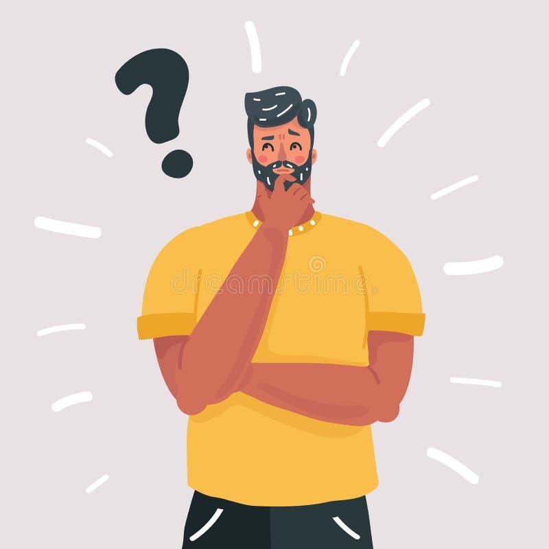 Mężczyzny główkowanie, pytanie, wątpliwości wyrażenie ilustracja wektor