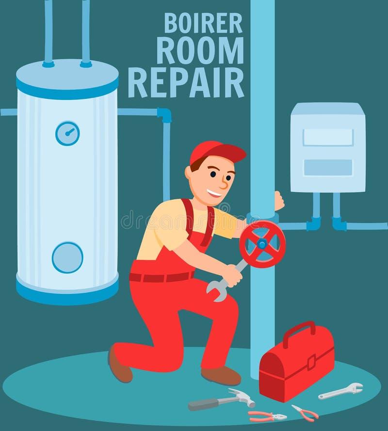 Mężczyzny hydraulika naprawy klapy Kotłowego pokoju ilustracja ilustracja wektor
