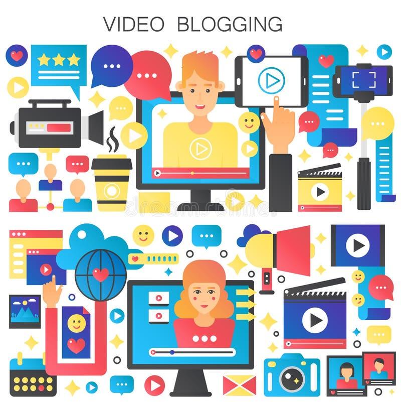 Mężczyzny i kobiety Blogger wektoru ilustracja Wideo blogging pojęcie Online cyfrowy wideo blog ilustracji