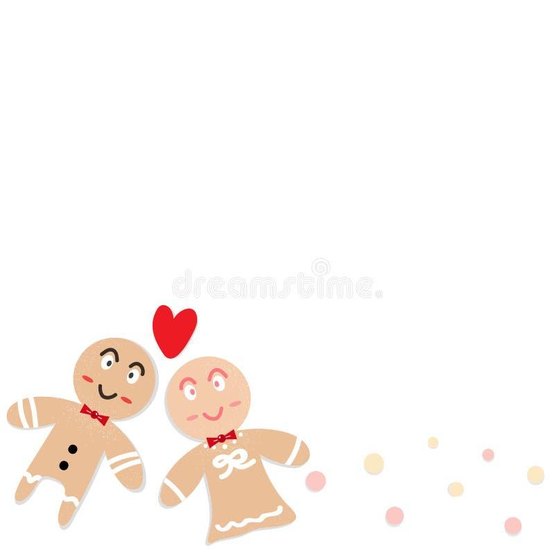 Mężczyzny i kobiety ciastek kreskówki kochanka charakteru confetti szczęście ilustracja wektor