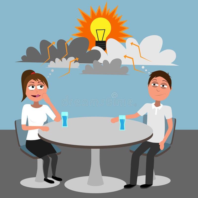 Mężczyzny i kobiety główkowanie nowy pomysł z chmura koszt stały który reprezentuje brainstorming royalty ilustracja