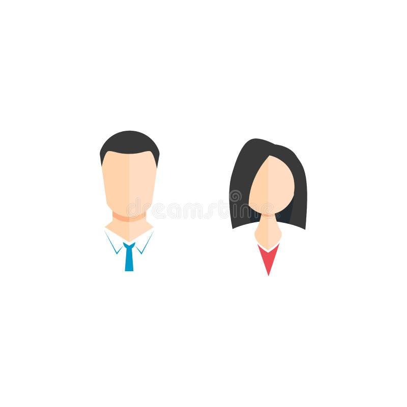 mężczyzny i kobiety ikona piękna i elegancka Wektorowy symbol na bielu ilustracja wektor