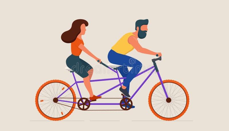 Mężczyzny i kobiety jeździecki tandemowy bicykl zdjęcie stock