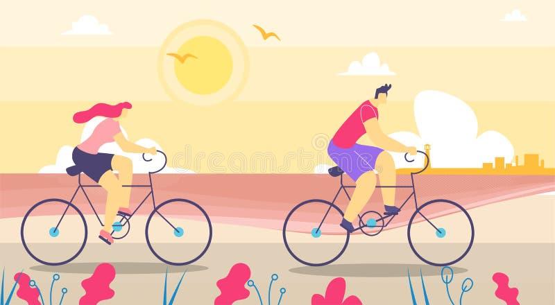 Mężczyzny i kobiety odprowadzenie na bicyklu mieszkania kreskówce ilustracja wektor