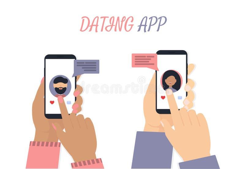 Mężczyzny i kobiety ręki z telefonu app bielu tłem royalty ilustracja