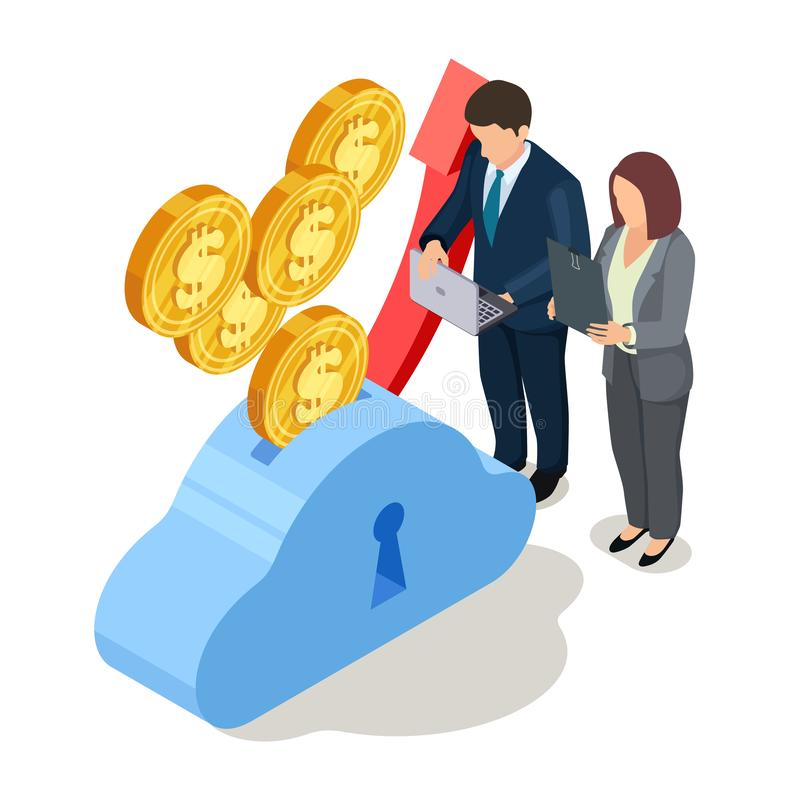 Mężczyzny i kobiety zysku przyrost uratować dolarów ilustracja wektor