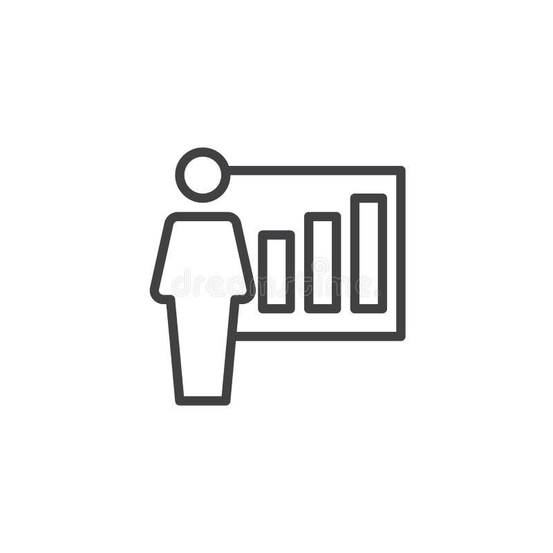 Mężczyzny i wykresu konturu ikona ilustracja wektor