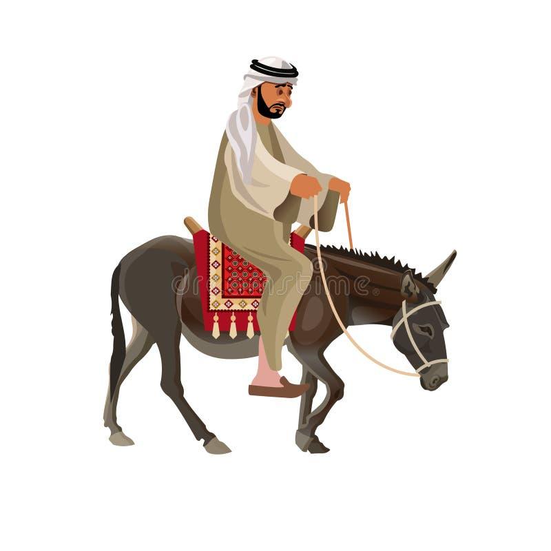 Mężczyzny jeździecki osioł royalty ilustracja