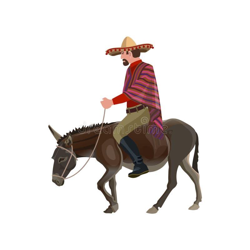 Mężczyzny jeździecki osioł ilustracji