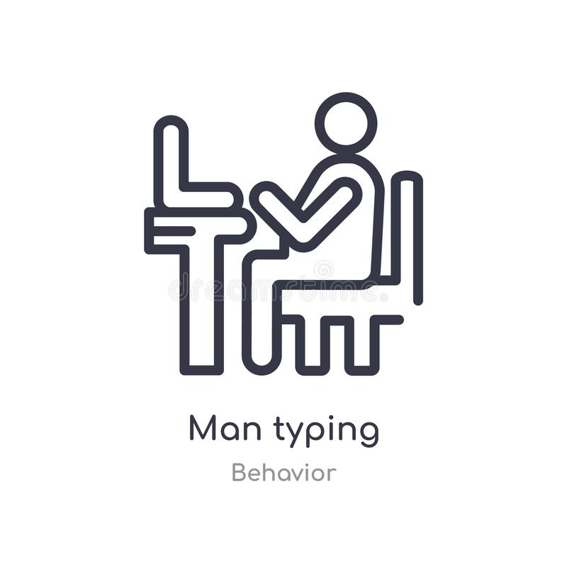 mężczyzny konturu pisać na maszynie ikona odosobniona kreskowa wektorowa ilustracja od zachowanie kolekcji editable cienkiego ude ilustracji