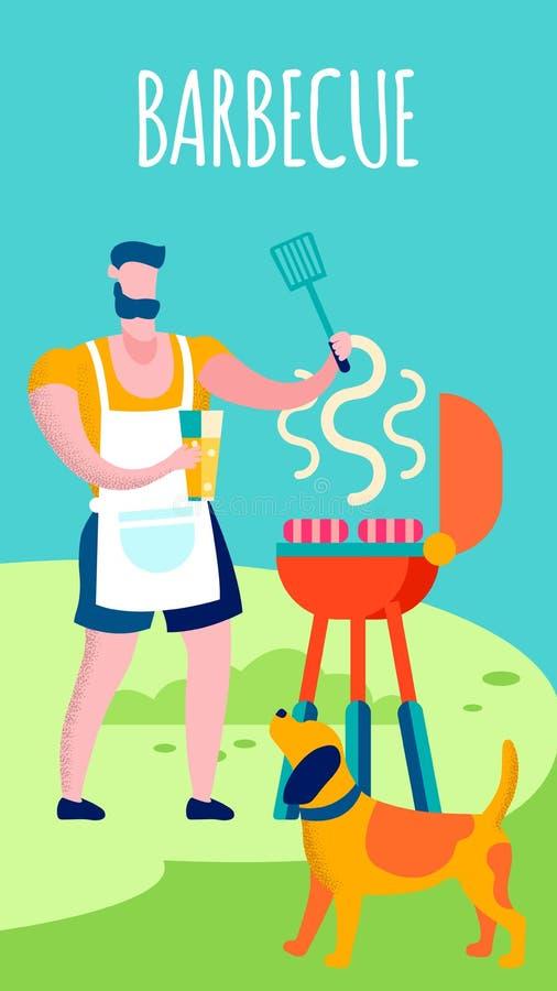 Mężczyzny kucharstwo na BBQ grilla Płaskiej Wektorowej ilustracji ilustracja wektor