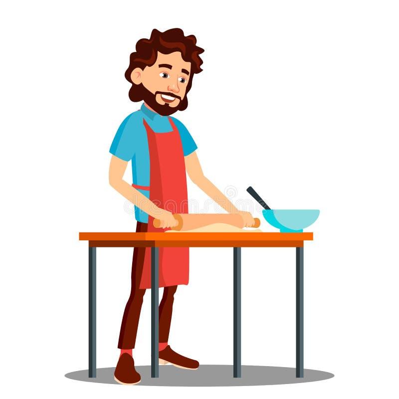 Mężczyzny kucharstwo W kuchni W fartucha wektorze ilustracja ilustracja wektor