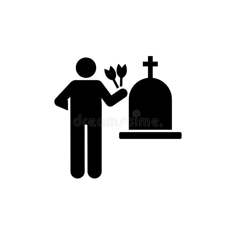 Mężczyzny kwiatu żałobny stroskanie płacze ikonę Element piktogram śmierci ilustracja ilustracji