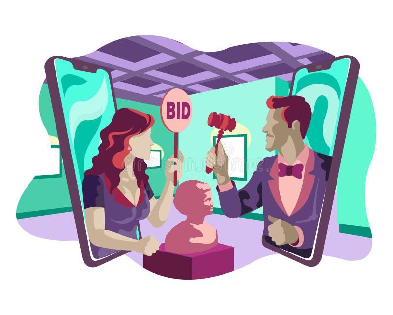 Mężczyzny mienia antyka kobiety i aukcji miejsc oferty ilustracji stylu Online Muzealny Płaski pojęcie ilustracja wektor