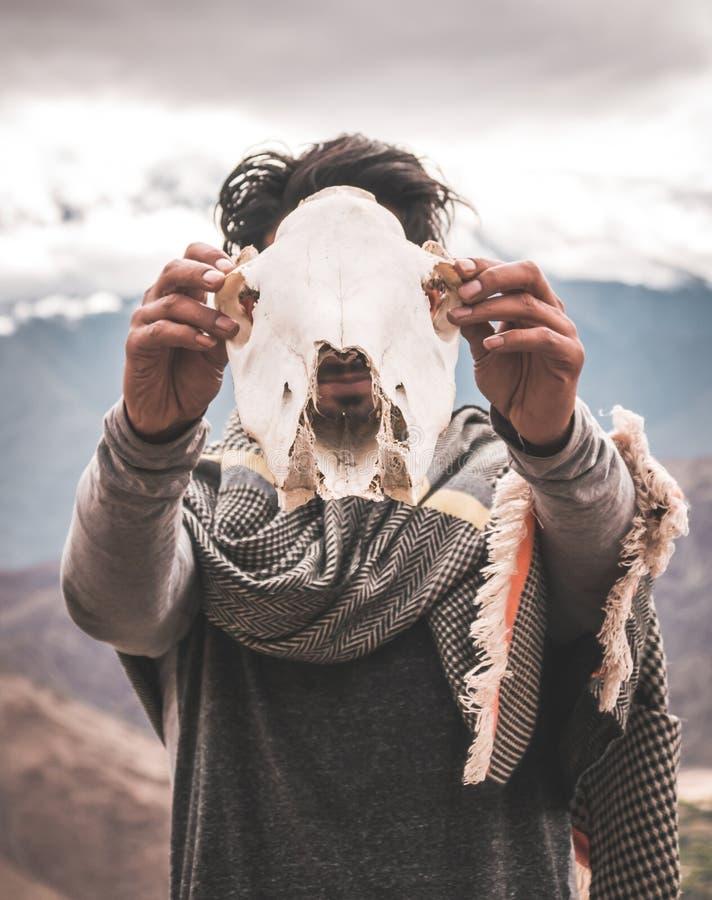 mężczyzny mienia czaszki zwierzęca okładzinowa kamera fotografia royalty free