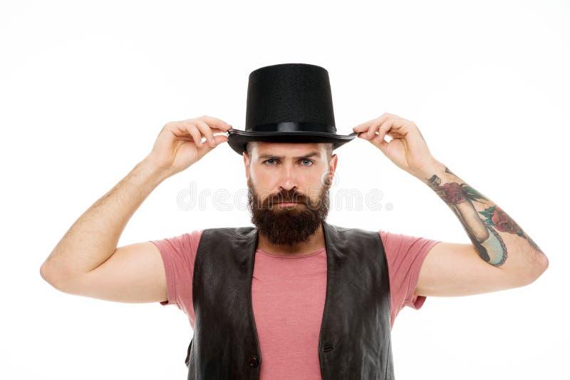 Mężczyzny modnisia butli brodaty kapelusz Iluzjonisty występu pojęcie Magika czarnoksiężnika krasnoludków występ Cyrkowy pracowni obrazy stock