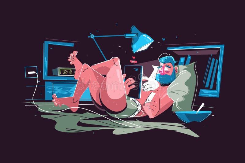 Mężczyzny obwieszenie na internecie ilustracja wektor