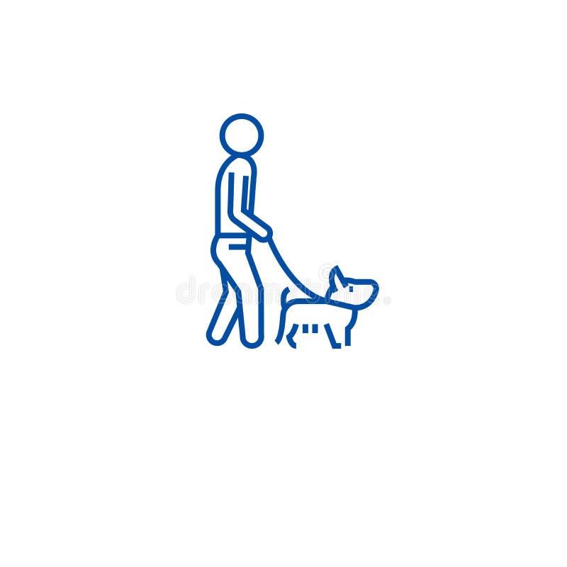 Mężczyzny odprowadzenia psa linii ikony pojęcie Mężczyzny odprowadzenia psa płaski wektorowy symbol, znak, kontur ilustracja ilustracja wektor