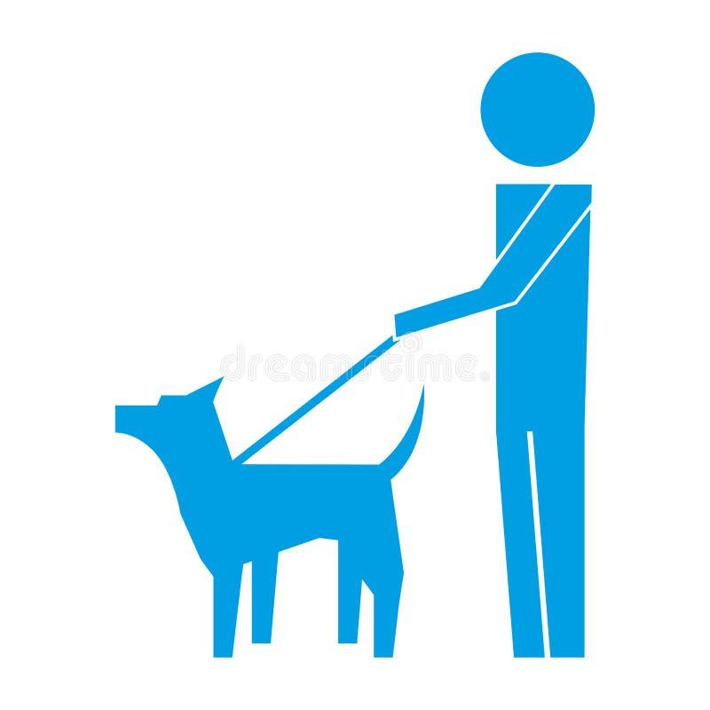 M??czyzny odprowadzenie z zwierz? domowe psa piktograma wizerunkiem ilustracja wektor
