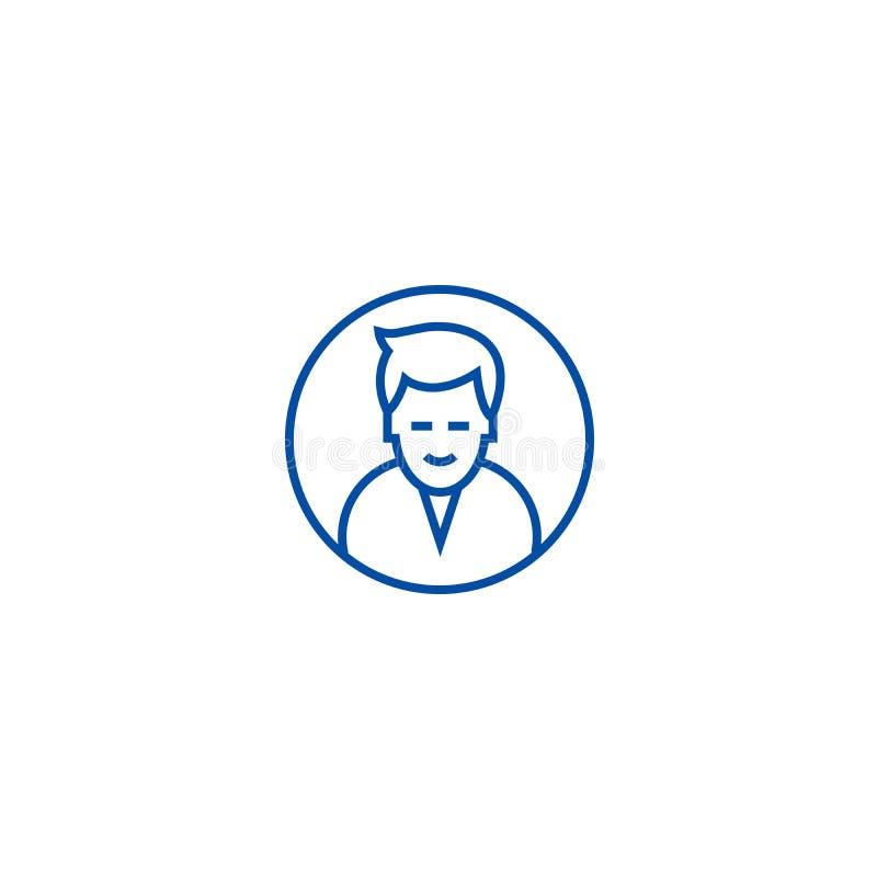 Mężczyzny okręgu avatar linii ikony pojęcie Obsługuje okręgu avatar płaskiego wektorowego symbol, podpisuje, zarysowywa, ilustrac royalty ilustracja