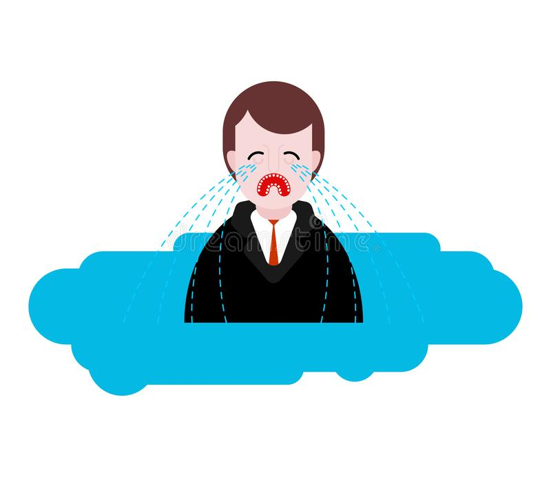 Mężczyzny płaczu kałuża rozpaczający Smutna samiec w kałuży łzy ilustracja wektor