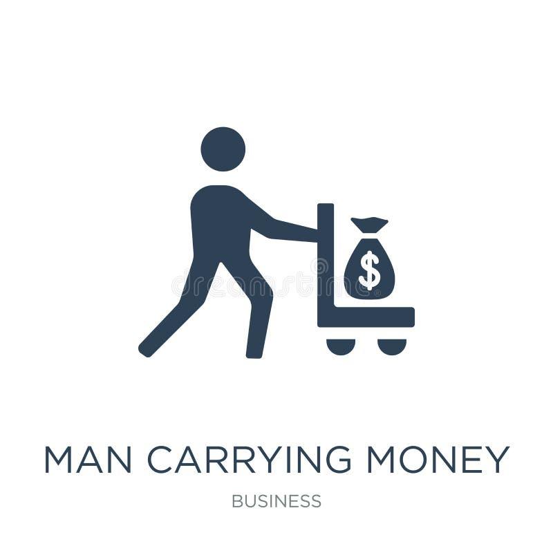 mężczyzny przewożenia pieniądze ikona w modnym projekta stylu obsługuje przewożenie pieniądze ikonę odizolowywającą na białym tle ilustracja wektor