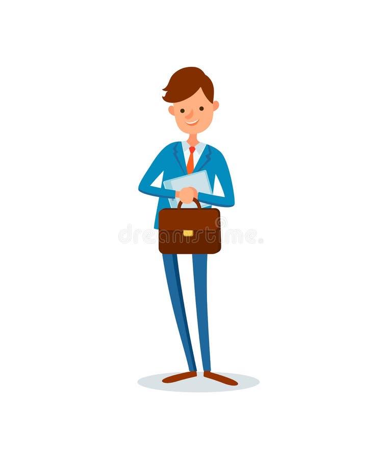 Mężczyzny przewożenia teczki działalność biznesowa szef ilustracja wektor
